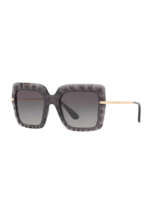 Dolce & Gabbana Full Rim Square Gold Grey Sunglasses for Women, Gradient Grey Lens, DG6111-504/8G, 51/22/135