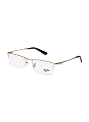 Ray-Ban Half-Rim Rectangle Gold Frame Unisex, RX6304I-2500, 52/19/140