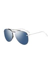 Dior Full Rim Aviator Silver Sunglasses for Men, Grey/Blue Mirrored Lens, CD-DIOR0222S-DOH992A, 99/1/150