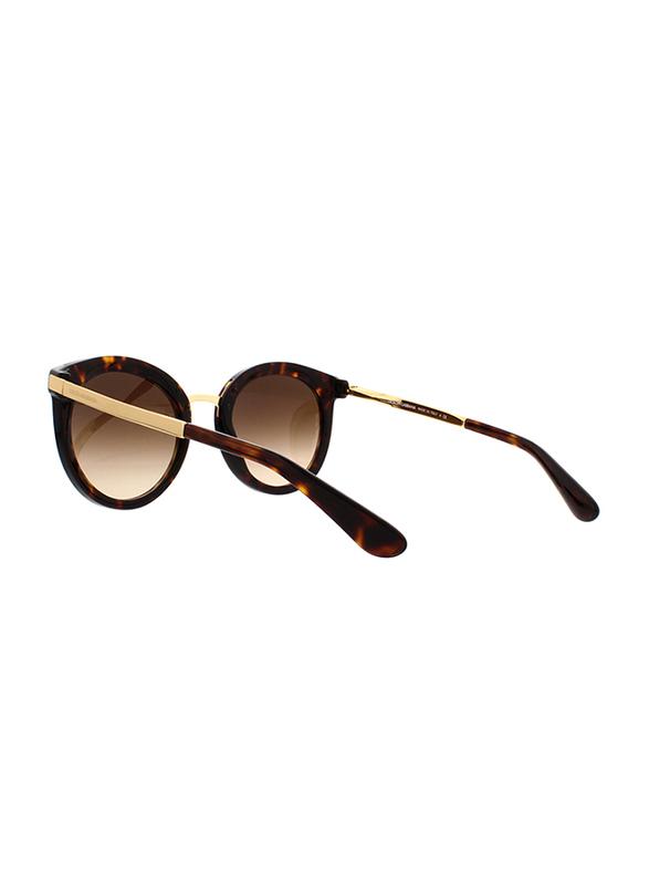 Dolce & Gabbana Full Rim Round Brown Sunglasses for Women, Brown Lens, DG4268-502/13, 52/22/140