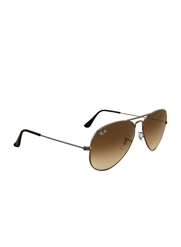 Ray-Ban Full Rim Aviator Gunmetal Sunglasses Unisex, Brown Gradient Lens, RB3025-004/51, 55/14/135