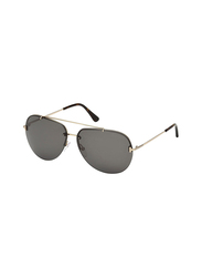 Tom Ford Full Rim Aviator Silver Sunglasses Unisex, Black Lens, FT-058428A63, 63/12/140