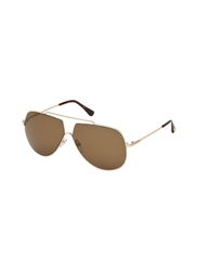Tom Ford Full Rim Aviator Gold Sunglasses for Men, Brown Lens, FT-058628E61, 61/10/140