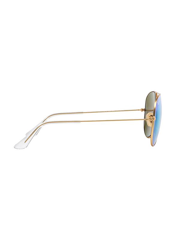Ray-Ban Full Rim Aviator Gold Sunglasses Unisex, Green Flash Mirrored Lens, RB3025-112/19, 58/14/135