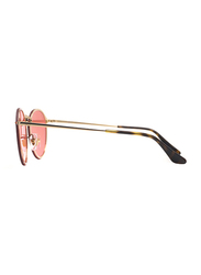 Ray-Ban Full Rim Round Gold Sunglasses for Women, Pink Mirrored Lens, RB3574N-001/E4, 59/15/145