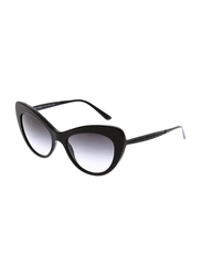 Dolce & Gabbana Full Rim Cat Eye Black Sunglasses for Women, Gradient Grey Lens, DG4307B-501/8G, 52/18/140