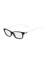 Lacoste Full-Rim Rectangle Black Computer Glasses for Kids, with Blue Light Filter, Clear Lens, 8-13 Years, LA-L3803B-002-51-BC, 51/14/135