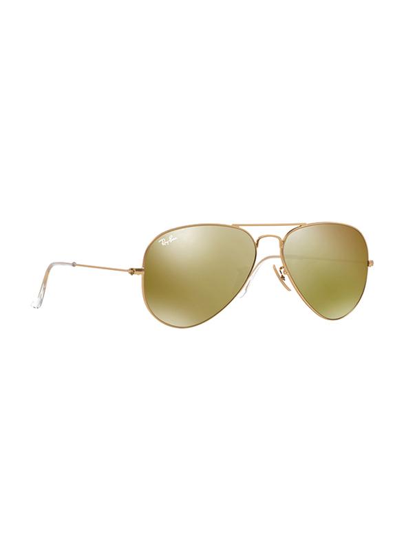 Ray-Ban Full Rim Aviator Gold Sunglasses Unisex, Gold Mirrored Lens, RB3025-112/93, 58/14/135