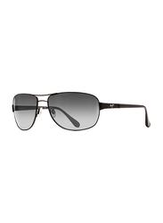 Maui Jim Polarized Full Rim Aviator Matte Black Sunglasses Unisex, Grey Lens, MJ-GS253, 63/18/122
