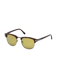 Tom Ford Full Rim Square Tortoise Sunglasses for Men, Brown Lens, FT-024852N53, 53/20/145