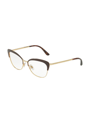 Dolce & Gabbana Half-Rim Cat Eye Brown/Gold Frame for Women, DG1298-1315, 56/16/140