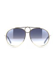 Chloe Full Rim Aviator Silver Sunglasses for Women, Blue Gradient Lens, CL-CE144S-050, 61/13/140