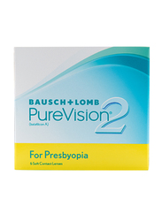 Bausch & Lomb PureVision 2 Multi Focal Monthly Pack of 6 Contact Lenses, Clear, SPH +2.50, High-Add
