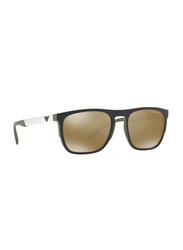 Emporio Armani Full Rim Square Black Sunglasses Unisex, Brown Lens, EM-4114-56747I, 55/20/145