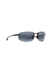 Maui Jim Polarized Half-Rim Rectangle Black Sunglasses Unisex, Grey Lens, MJ-407, 64/17/130