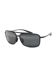 Maui Jim Polarized Full Rim Square Black Sunglasses Unisex, Grey Lens, MJ-437, 61/15/140