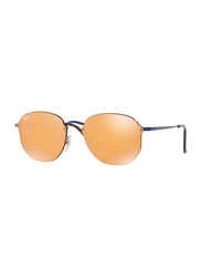 Ray-Ban Full Rim Aviator Blue Sunglasses Unisex, Orange Mirrored Lens, RB3579N-90387J, 58/15/145