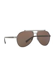 Dolce & Gabbana Full Rim Aviator Brown Sunglasses for Men, Brown Lens, DG2189-131573, 61/14/140