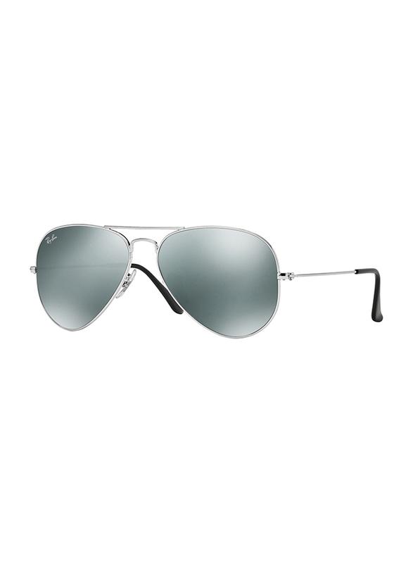 Ray-Ban Full Rim Aviator Silver Sunglasses Unisex, Silver Mirrored Lens, RB3025-W3277, 58/14/135