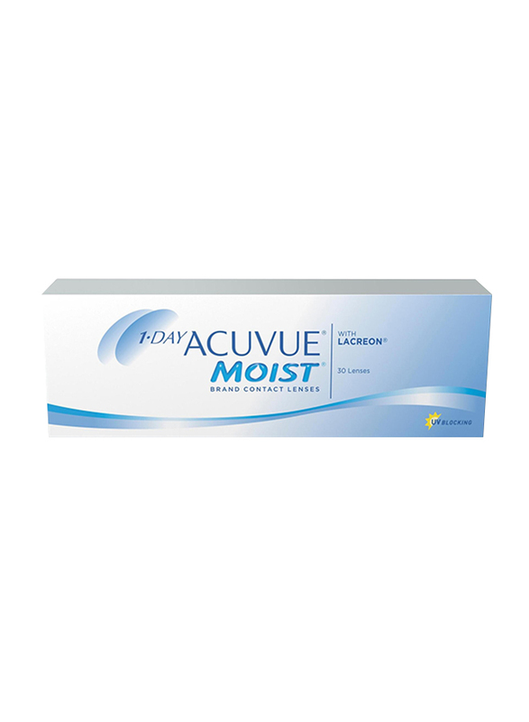 Acuvue Moist 1-Day Pack of 30 Contact Lenses, Natural, -1