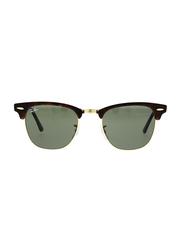 Ray-Ban Full Rim Clubmaster Tortoise Brown Sunglasses Unisex, Black Lens, RB3016-W0366, 49/21/140