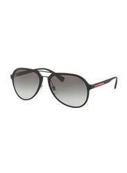 Prada Linea Rossa Full Rim Aviator Black Sunglasses Unisex, Grey Lens, PS-05RS-DG00A7, 58/17/135