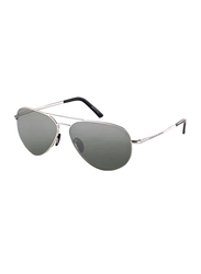 Porsche Design Full Rim Aviator Silver Sunglasses Unisex, Grey Lens, PD-8508C, 60/12/140