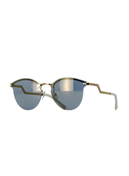 Fendi Half-Rim Cat Eye Rose Gold Sunglasses for Women, Blue Mirrored Lens, FN-0040/S-00060JO, 60/17/135