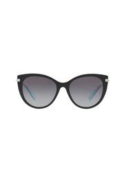 Tiffany&Co Full Rim Cat Eye Black/Blue Sunglasses for Women, Grey Lens, TF-4143B-80553C, 55/18/140