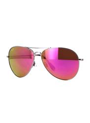 Maui Jim Polarized Full Rim Aviator Silver Sunglasses Unisex, Pink Mirrored Lens, MJ-P264-16R, 64/14/137