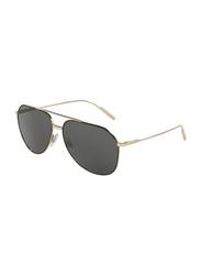 Dolce & Gabbana Full Rim Aviator Black/Pale Gold Sunglasses for Men, Black Lens, DG2166-130587, 61/14/140