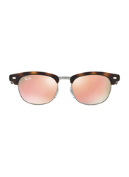 Ray-Ban Full Rim Clubmaster Havana Sunglasses for Kids, Pink/Silver Mirrored Lens, RJ9050S-70182Y, 45/16/125