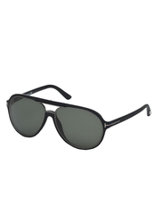 Tom Ford Full Rim Aviator Black Sunglasses for Men, Green Lens, FT-037902R60, 60/16/140