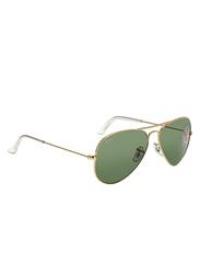 Ray-Ban Full Rim Aviator Gold Sunglasses Unisex, Green Lens, RB3025-001/58, 58/14/140