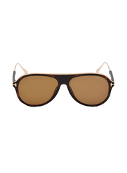 Tom Ford Full Rim Aviator Black Sunglasses for Men, Brown Lens, FT-062452E57, 57/14/145