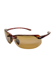 Maui Jim Polarized Full Rim Rectangle Tortoise Sunglasses Unisex, Brown Lens, MJ-H412, 70/17/130