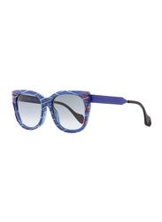 Fendi Full Rim Rectangle Blue With Red Print Sunglasses for Women, Grey Lens, FN-KINKY0180-VDN54JJ, 54/18/140