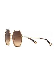 Chloe Full Rim Octagonal Silver Sunglasses for Women, Brown Lens, CL-CE132S-213, 58/20/140