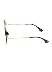 Fendi Half-Rim Round Silver Sunglasses for Women, Grey Gradient Lens, FN-0325/S-KB7569O, 56/23/140