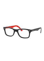 Ray-Ban Full Rim Rectangle Black on Texture Red Frame Unisex, RX5228-2479, 50/17/140