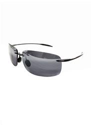 Maui Jim Polarized Rimless Rectangle Black Sunglasses Unisex, Grey Lens, MJ-422, 63/13/127