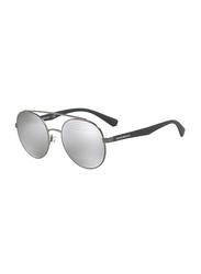 Emporio Armani Full Rim Round Matt Gunmetal Sunglasses for Men, Silver Mirrored Lens, EM-2051-30106G, 53/20/140