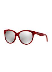 Dolce & Gabbana Full Rim Cat Eye Pois Black On Red Sunglasses for Girls, Grey Mirrored Lens, DG4176-28736G, 49/15/125