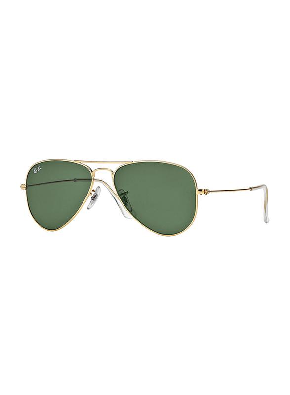 Ray-Ban Full Rim Aviator Gold Sunglasses Unisex, Green Lens, RB3044-L0207, 58/14/135
