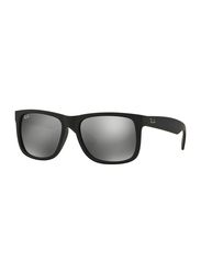 Ray-Ban Full Rim Square Black Sunglasses for Men, Grey Mirrored Lens, RB4165-622/6G, 55/16/145