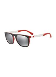 Emporio Armani Full Rim Square Black/Red Temple Sunglasses for Men, Virtual Mirrored Lens, EM-4114-56726G, 55/20/145