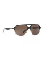 Emporio Armani Full Rim Pilot Black Crystal Sunglasses for Men, Brown Lens, EM-4111-563073, 57/18/145