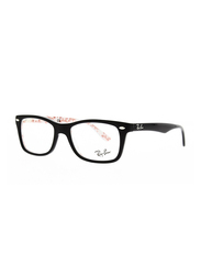 Ray-Ban Full Rim Rectangle Black on Texture White Frame Unisex, RX522814, 50/17/140