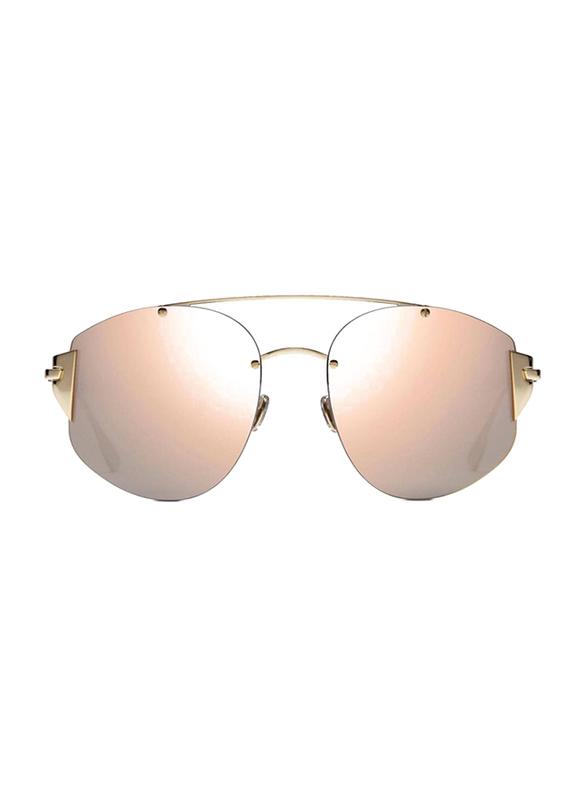 Dior Full Rim Aviator Gold Sunglasses for Women, Rose Gold Mirrored Lens, CD-STRONGER-J5G580J, 58/18/145