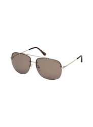 Tom Ford Full Rim Square Gold Sunglasses Unisex, Brown Lens, FT-062028J62, 62/14/140